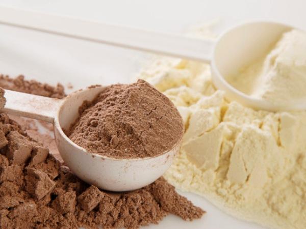 proteína en polvo o whey protein de chocolate y vainilla