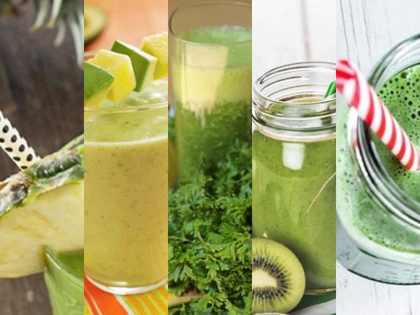 6 batidos o Licuados detox verdes de verduras y frutas depurativos para cenar