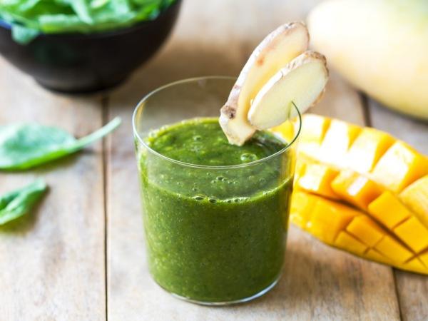 jugo verde de jengibre y té verde para quemar grasa